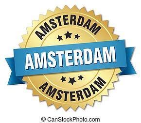 amsterdam, ronde, gouden, badge, met, blauw lint