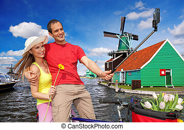 amsterdam, selfie, schans, tegen, paar, boeiend, windmolen, zaanse