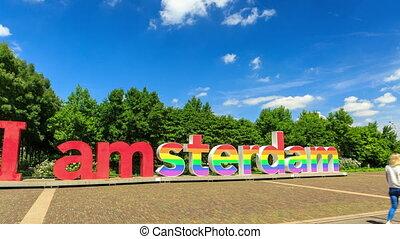 Amsterdam sign pride hyperlapse 4K - Beautiful 4K UHD...