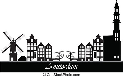 Amsterdam skyline - dutch amsterdam skyline with bridge and...