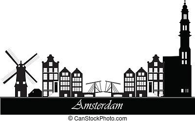 Amsterdam skyline - dutch amsterdam skyline with bridge and...