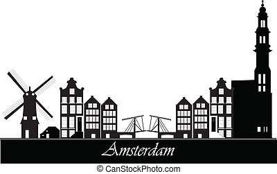dutch amsterdam skyline with bridge and windmill