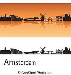 Amsterdam skyline in orange background in editable vector...