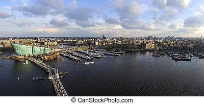 Amsterdam Skyline - The skyline of Amsterdam during a ...