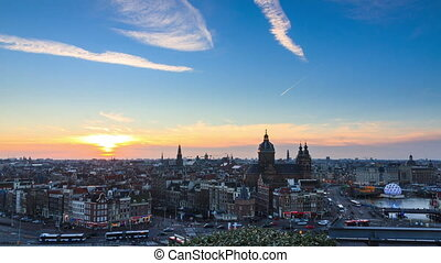 Amsterdam skyline timelapse
