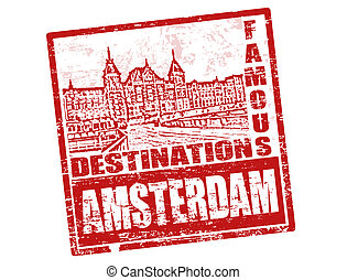 Red grunge rubber stamp with old houses and the word Amsterdam, written inside
