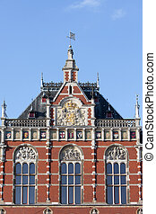 amsterdam, station, central, détails, architectural