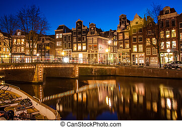 Amsterdam street at night