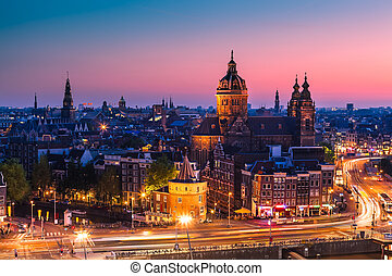 Amsterdam, the Netherlands - Amsterdam skyline shortly after...