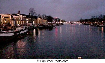 Amsterdam - Twilight Magere - Magere Brug (Skinny Bridge). A...