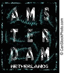 Amsterdam typography design with flowers