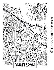 amsterdam, vector, mapa ciudad, cartel