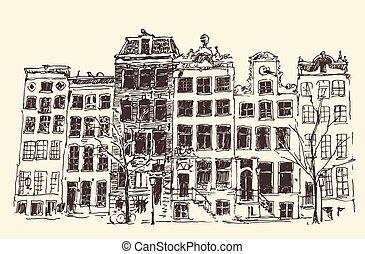 Amsterdam Vintage Engraved Illustration Hand Drawn