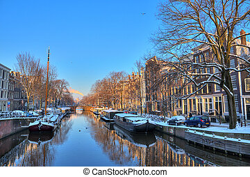 Amsterdam winter canal