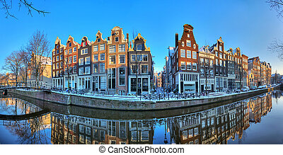 Amsterdam winter canal panorama