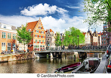 Amsterdam with canal in the downtown, Holland.