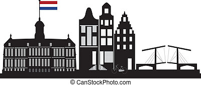 Amsterdam skyline with dutch flag in red whitte blue