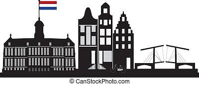 amsterdam with dutch flag - Amsterdam skyline with dutch...