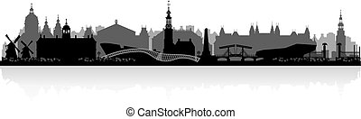 amszterdam, láthatár, németalföld, árnykép, város