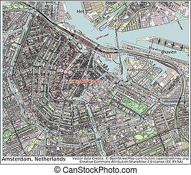 amszterdam, németalföld, város térkép