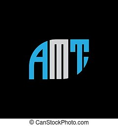 AMT letter logo design on black background.AMT creative initials letter logo concept.AMT letter design.  AMT letter colorful design on black background.A,M,T logo vector circle graphic design shape business sign abstract black tech technology line modern symbol concept icon corporate  industry ...