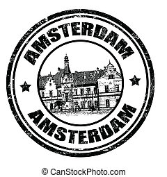 Amterdam stamp - Black grunge rubber stamp with the name of...