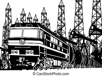 Amtrak locomotive with oil on the background of oil rigs. Black and white illustration.