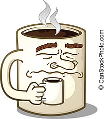 amuado, personagem, café assalta