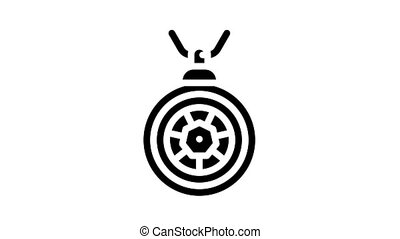amulet accessory animated glyph icon. amulet accessory sign. isolated on white background