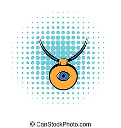 Amulet against the evil eye icon, comics style
