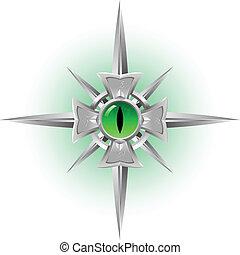 Amulet. Dragon Eye. - Amulet. Dragon green Eye. Illustration...