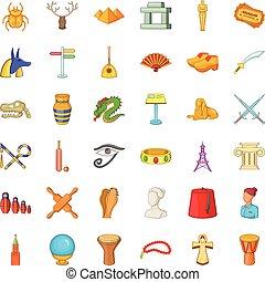 Amulet icons set, cartoon style