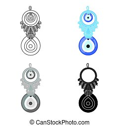 Amulet nazar icon in cartoon style isolated on white...