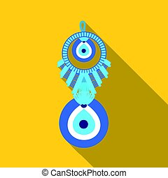 Amulet nazar icon in flate style isolated on white...