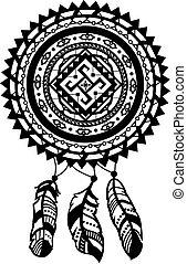 Amulet - Round amulet with ethnic patterns