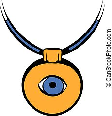 amuleto, contra, a, olho mal, ícone, ícone, caricatura