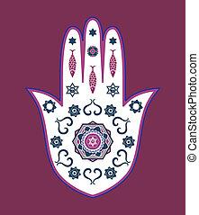 amulett, vektor, jüdisch, hamsa, hand