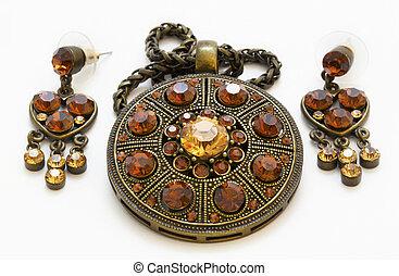 amulett, weinlese, ohrringe