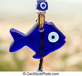 amulette, verre, pêchez regardez, turc