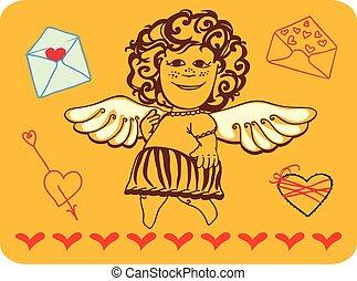 amur cheerful - a girl. Mail Cupid
