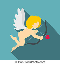 Amur or Cupid icon, flat style