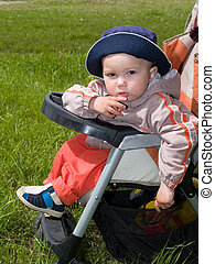 amused boy in stroller