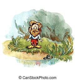 Amused Hoblin - Amused hobbit near the stream. Imaginary...