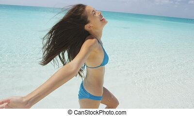 amusement été, avoir, plage, espiègle, vacances, pendant, voyage, marche, femme