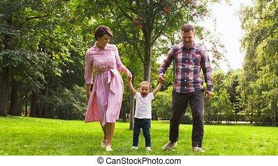 amusement, été, parc, famille, heureux, avoir