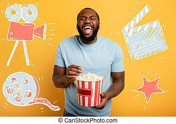 amusement, a, fond, divertissement, rouges, regarder, film., tv., garçon, ruisseler, concept