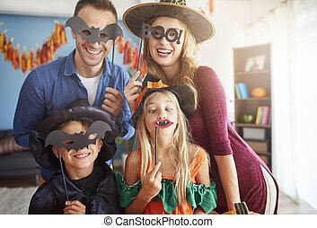 amusement, a, halloween, temps famille