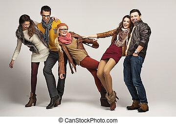 amusement, amis, groupe, avoir, ensemble