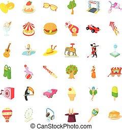 amusement, amusement, icônes, ensemble, dessin animé, style