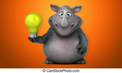 amusement, animation, -, rhinocéros, 3d